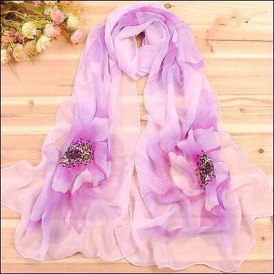 New Women's Painting Fashion Georgette Long Wrap Shawl Beach Silk Scarf Purples
