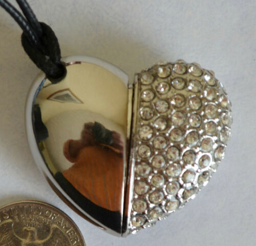 Heart USB Silver Metal Crystal Memory Stick Thumb Drive Necklace Jewelry 2GB