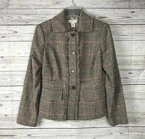 Harold-039-s-Women-039-s-Brown-Tan-Plaid-Button-Front-Ruffle-Wool-Blazer-Jacket-Sz-6