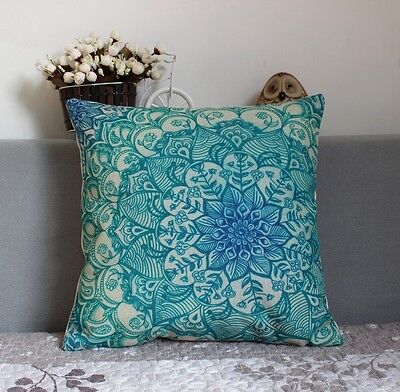 Linen cotton Square PILLOW CASES CUSHION COVERS 45 cm SD119 turquoise flower