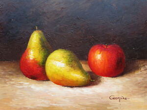 Details About Greco Fruits Original Hand Painted 12 X16 Oil Painting Canvas Food Art