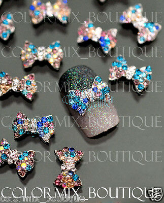 10pcs 3D Nail Art Decoration Colorful Bow Alloy Jewelry Glitter Rhinestone#CA063