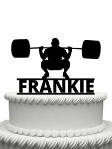 Birthday Personalised Weight Lifter silhouette Card Cake topper