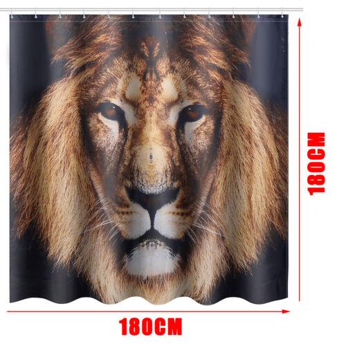 Shower Curtain 4Pcs Lion Home Decor Bathroom Pad Toilet Seat Cover Bath Mat