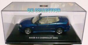 Raro-modellino-1-43-SAAB-9-3-CABRIOLET-2003-blue-color-by-EDISON-GIOCATTOLI