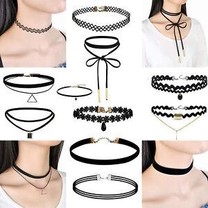 10PCs-Leather-Choker-Charm-Necklace-Vintage-Chocker-Punk-Retro-Black-Collar-UK