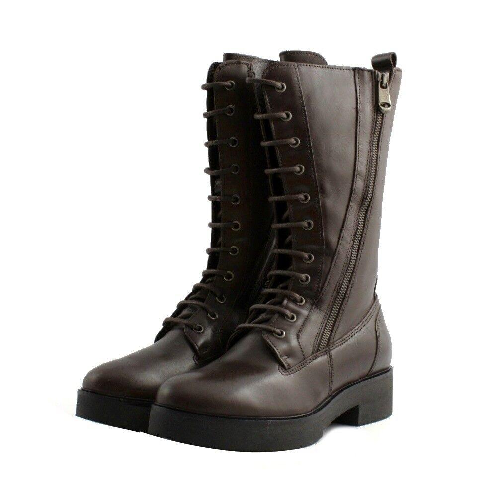 Stiefel Militärschuhe hoch Cafèschwarz Frau braunes Leder dunkelbraun geschnürt    | Jeder beschriebene Artikel ist verfügbar