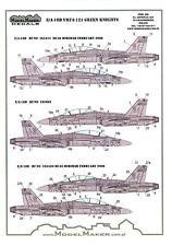Model Maker Decals 1/48 MCDONNELL DOUGLAS F/A-18D HORNET VMFA-121 GREEN KNIGHTS