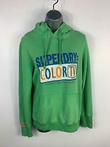 WOMENS-SUPERDRY-GREEN-LOGO-PRINT-CASUAL-JUMPER-PULLOVER-HOODIE-TOP-SIZE-L-LARGE