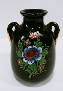 Vintage Japanese Hand Painted Double Handled Vase
