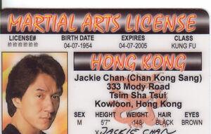 Ebay Martial Jackie Chan Drivers License Karate - Id Plastic Arts Card