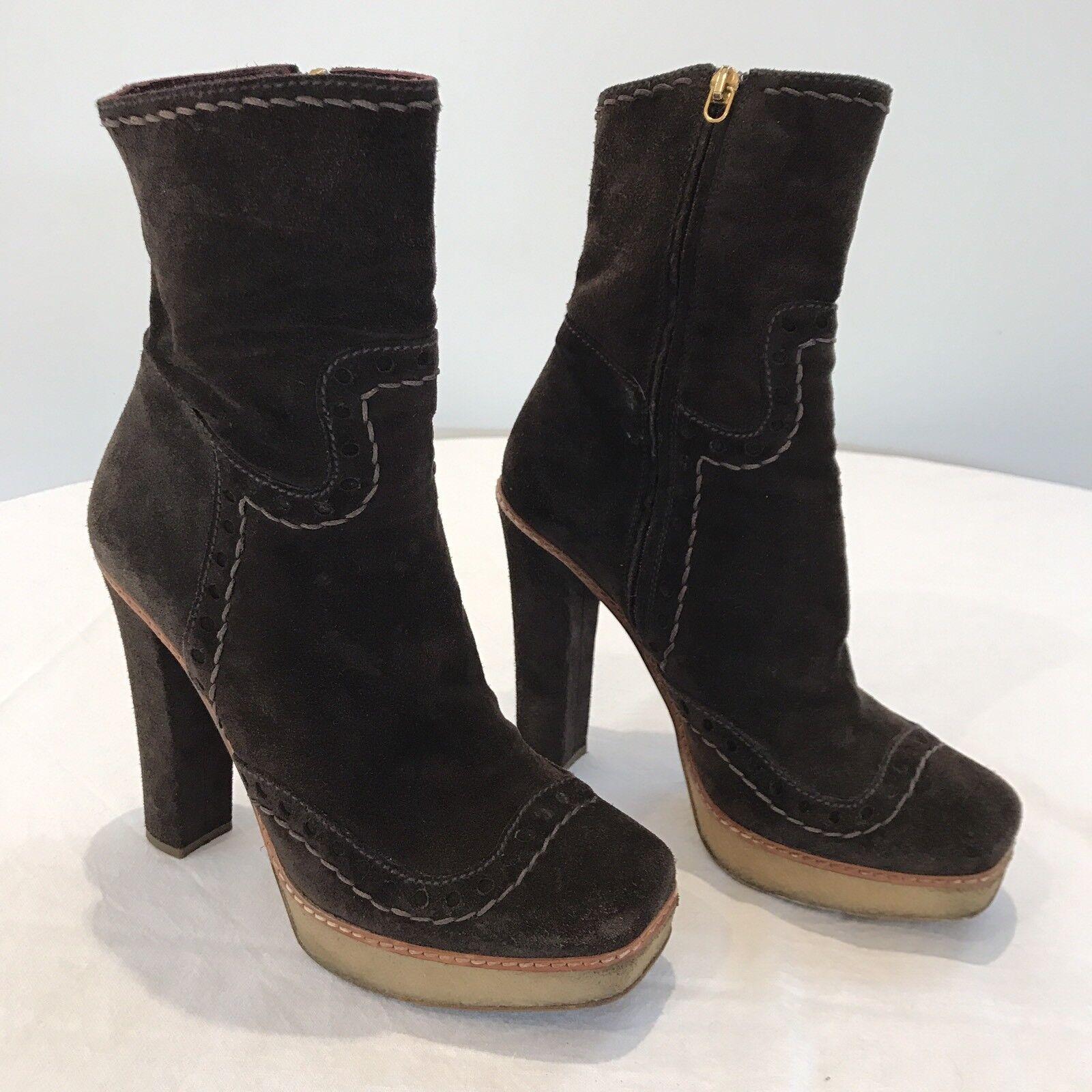 Prada Marrón Gamuza botas de plataforma talón en en en bloque de goma suela 38.5 Boho  buena calidad