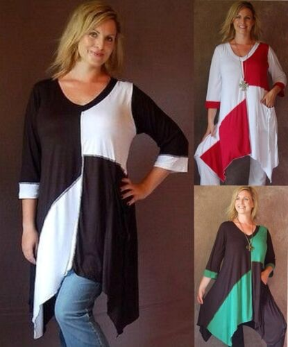 u pick color /& size color block shirt top blouse 3//4 sleeve  plus or one size