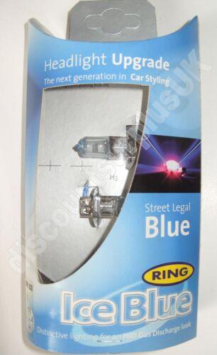 2x RING RW353 Ice Blue HALOGEN 55W 12V H3 VEHICLE BULB 2x LAMP *Ice Blue* RR49