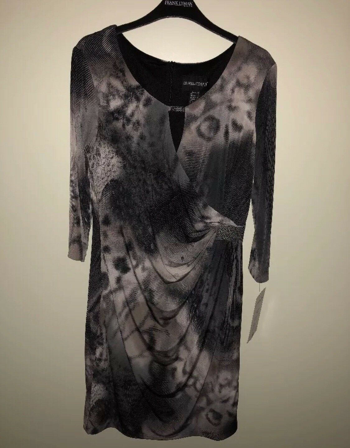 Ladies Stunning Grey Animal Print Dress Frank Lyman Bnwt