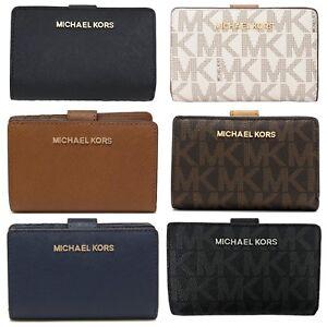 check-out 3fe9d e3841 Dettagli su Michael Kors Firma PVC o pelle Bifold Zip Moneta Portafoglio  Carte Portamonete
