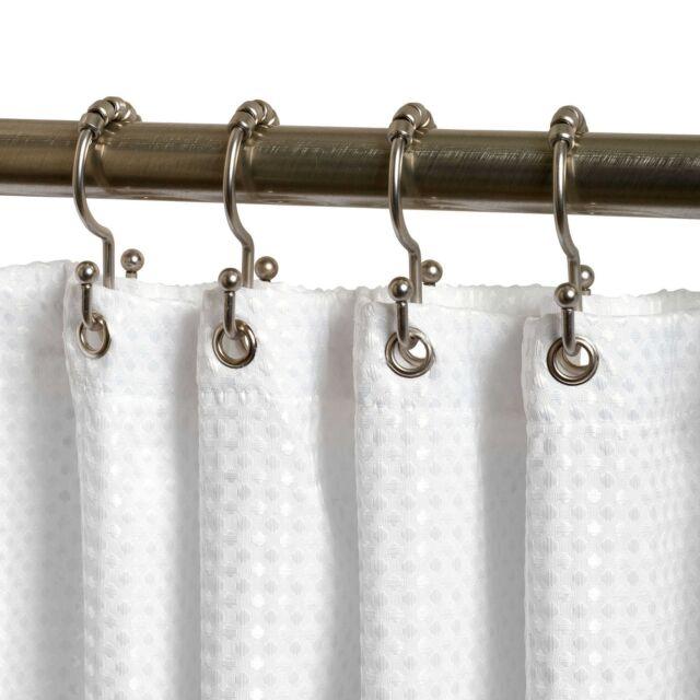 TITAN NeverRust Aluminum Double Roller Shower Curtain Hooks In Nickel Set Of 12