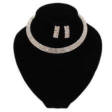 Charming Wedding Women's Rhinestone Crystal Silver Jewelry Set Necklace Earrings