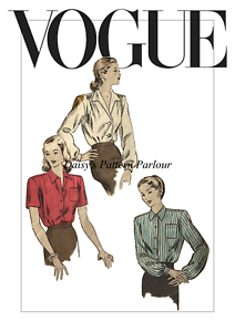 1940 Vintage Vogue Sewing Pattern chemisier 5687 Daisys Wartime 1940 S