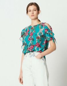 Sandro-Viva-Top-1-Blue-Turquoise-Pink-Floral-Cold-Shoulder-Tie-Blouse-NWT-265