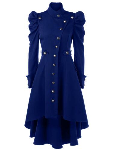 Damen Falten Vintage Steampunk Gothic Lange Mantel Jacke Blazer Coat Outwear 2XL