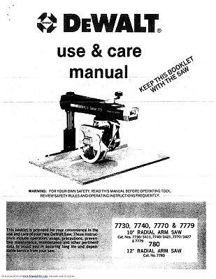 Dewalt Radial Arm Saw Model 7700 series Manual PDF | eBay