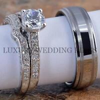 3pcs Women's Engagement Wedding Ring Set & Mens Tungsten Band Bridal Jewelry