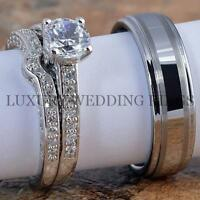 3pcs Women's Engagement Wedding Ring Set & Mens Tungsten Band Bridal Jewelry