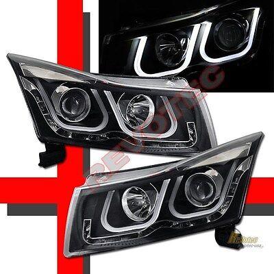 2011-2014 Chevy Cruze i8 Style U Bar LED Projector Headlights Black RH & LH