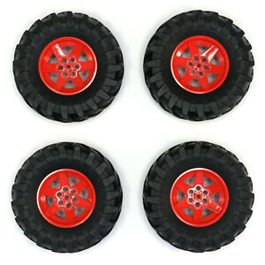 Lego-Technic-Set-of-4-Large-Red-Wheels-Tyres-Tires-Big-Massive-107x44mm-NEW