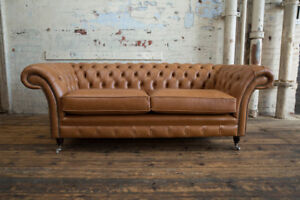 Handmade 3 Seater Vintage Antique Tan Leather Chesterfield Sofa Couch