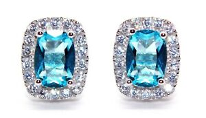 Sterling-Silver-Aquamarine-And-Diamond-4-76ct-Earring-925-Free-Luxury-Box