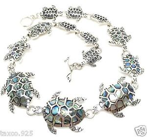 TAXCO-MEXICAN-STERLING-SILVER-ABALONE-TURTLE-NECKLACE-MEXICO