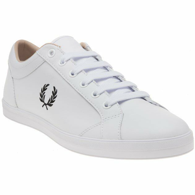 Fred Perry White Baseline Plimsolls Mens Leather Sneakers New ZPukXi