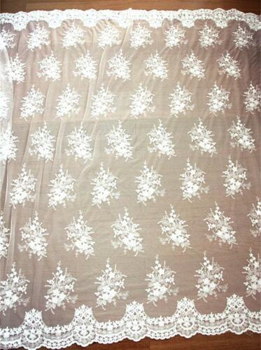 """51/""""  Width Cotton Embroidery Tulle Lace Fabric DIY Wedding Bridal Dress 0.5 Yard"""