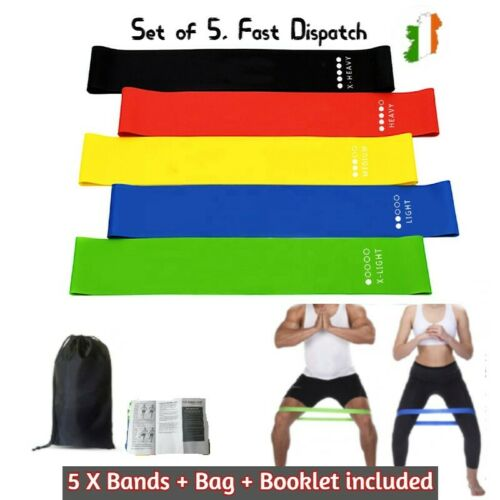 Resistance Bands Set of 5 Loop Home Gym Fitness Strength Training Physio