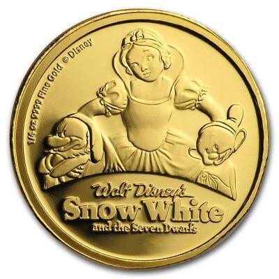 Niue -2017- Gold $25 Proof Coin- 1/4 Oz Snow White @ The Seven Dwarfs 80th Anni