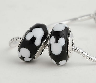 MICKEY MOUSE 925 Sterling Silver Solid Murano Glass Charm Bead Bracelet