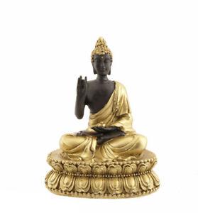 Budda Su Lotus Soprammobile Nera E Dorata Da 11 CM IN di Resina 783 E10 O E7