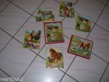 Alter Kasten mit Tier-puzzel Katze Hund Hahn Esel Pferd Taube Kuh Gans Ente