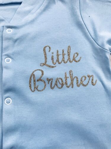 NEWBORN BROTHER ROMPER GIFT Gold Little Brother Blue All in one Sleepsuit Cute