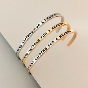 Cuff Bracelet Mantra Inspiration Quote Engraved Everything Happens