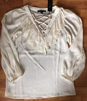 Romeo & Juliet Lace Up Ruffle Blouse Top Shirt Ivory Sz Small