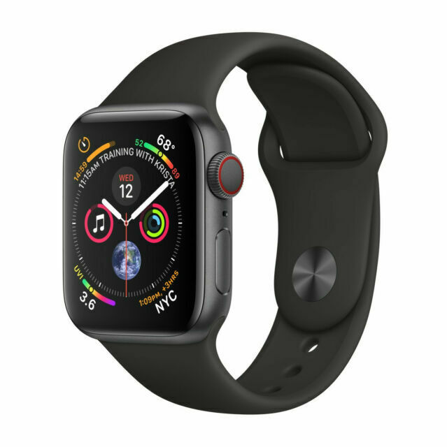 Apple Watch Series 4 GPS LTE W/ 44MM Space Gray Aluminum Case Black Sport Band - $200.00