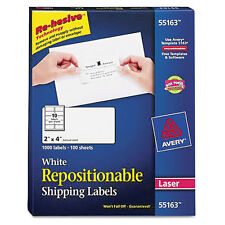 Avery Repositionable Shipping Labels Laser 2 X 4 White 1000box 55163 Lot Of 3