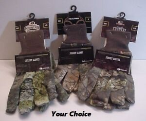Camo-Jersey-Gloves-Mossy-Oak-Realtree-Hunt-Fish-Sport-Your-Choice-One-Pair