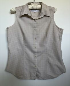 Columbia-Womens-Sleeveles-Top-Button-Up-Blouse-Cream-Check-Size-M-Like-New
