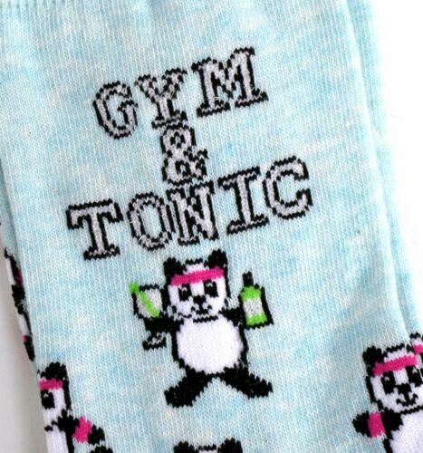 LADIES GYM AND TONIC GIN PANDA SOCKS UK SIZE 4-8 EUR 37-42 US 6-10