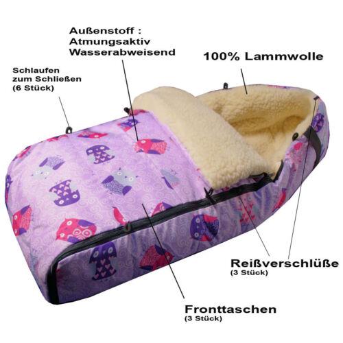 FARBAUSWAHL!!! Lammfell Winter Fußsack Lammfellfußsack ECHTE 100/% Lammwolle