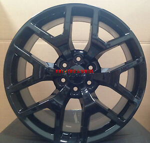 20 gmc sierra replica wheels gloss black rims silverado yukon denali sierra 22 ebay. Black Bedroom Furniture Sets. Home Design Ideas